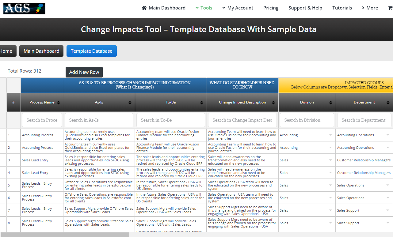 Change Impacts Tool – Template Database With Sample Data