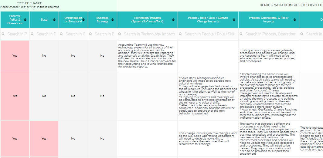 ERP, CRM, System Implementation Change Impact Assessment Template