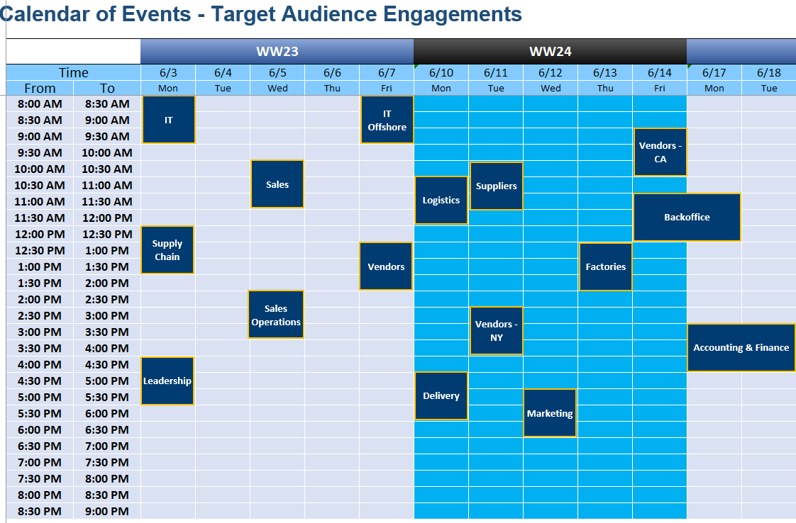 Calendar of Events - Target Audience Engagements