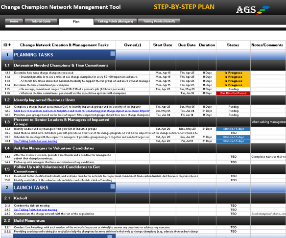 AGS Change Champion Network Management Tool - step by step