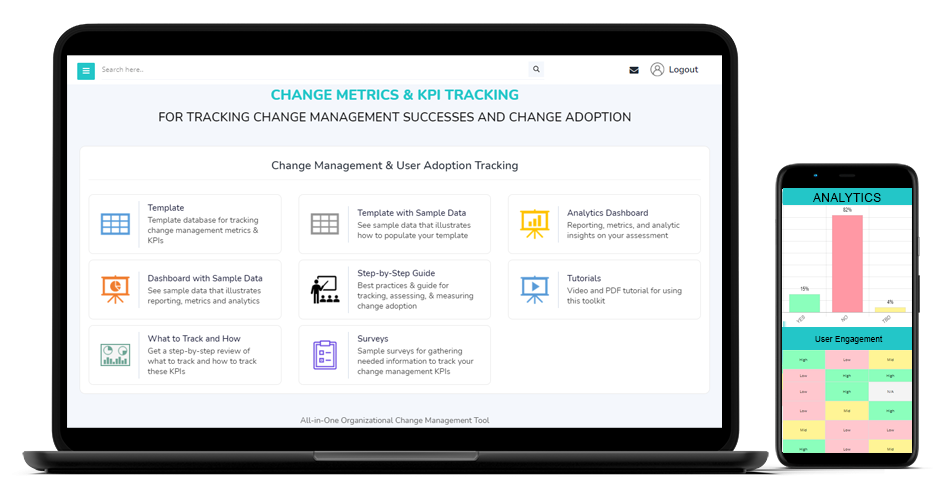 Organizational change management user adoption dashboard and template analytics