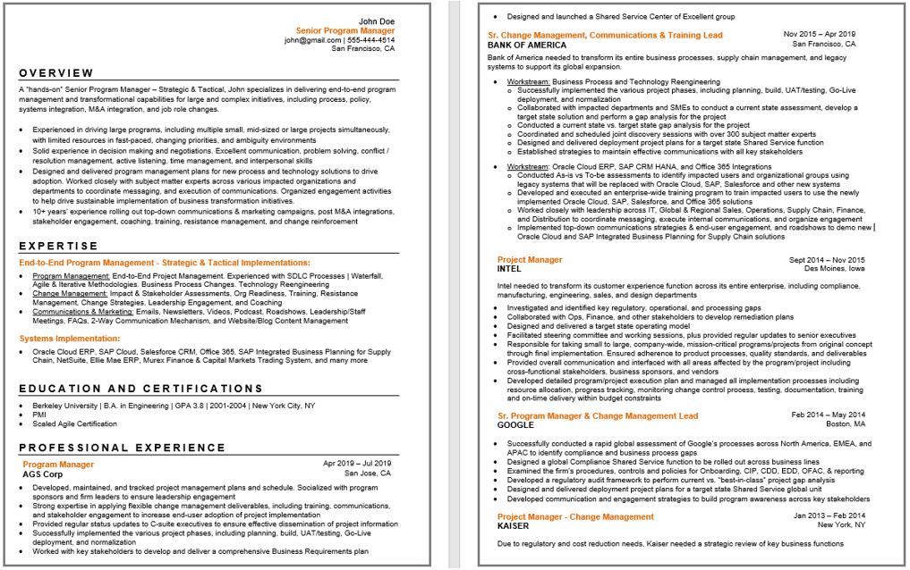 Project Manager Resume Sample. Best Program Management Resumes-min