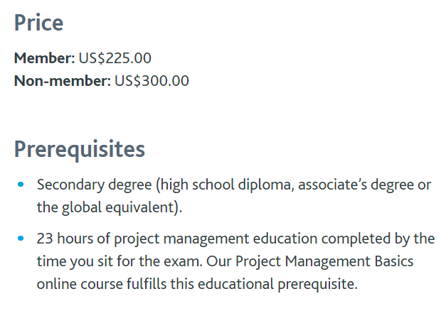 Certified Associate in Project Management (CAPM) Cost and Price