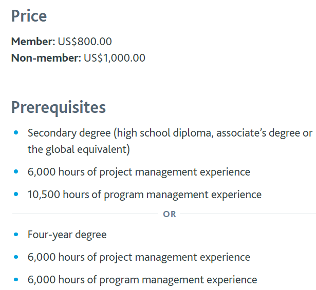 Program Management Professional (PgMP) Certification Cost and Prerequisites