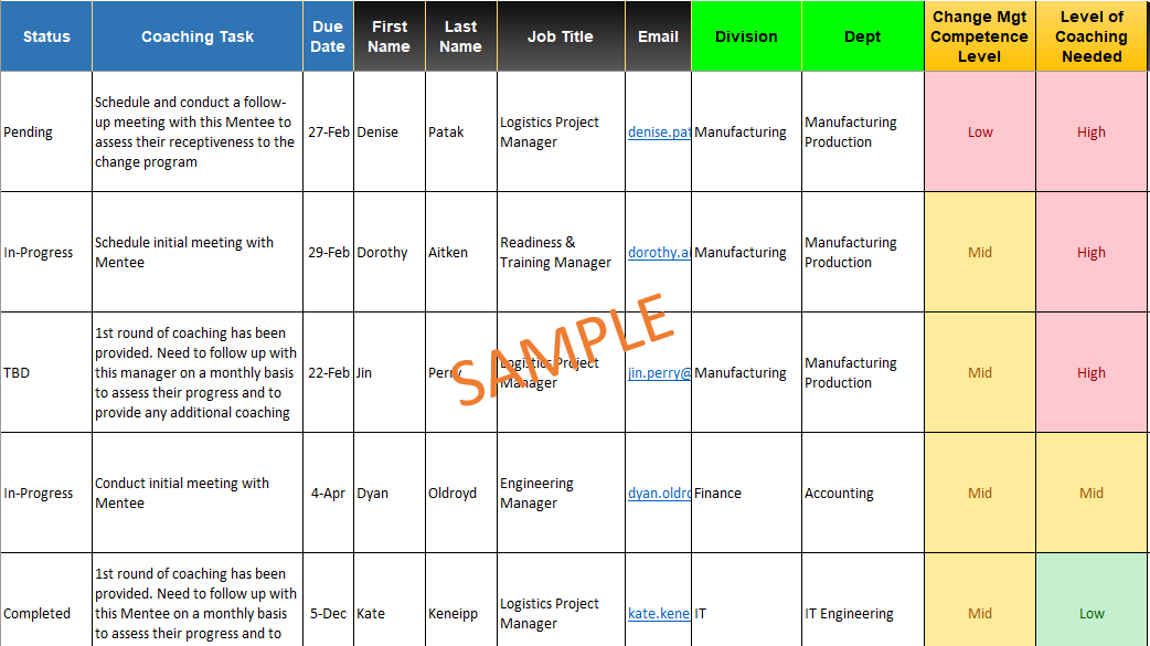 Coaching Sample and Template