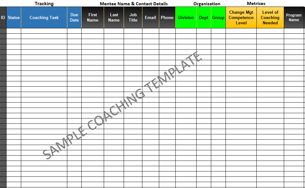 Coaching Template and Database - Sample