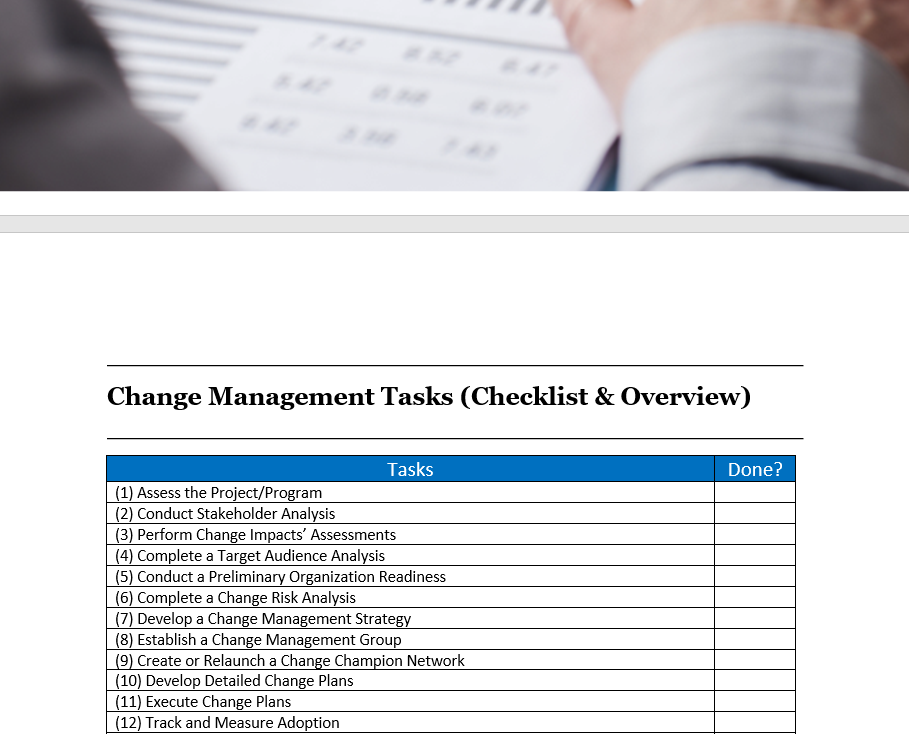 Transformational Business Change Checklist and Tasks
