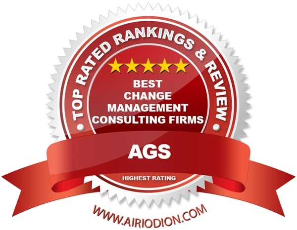 Red Award Emblem For Best Change Management Consulting Firms
