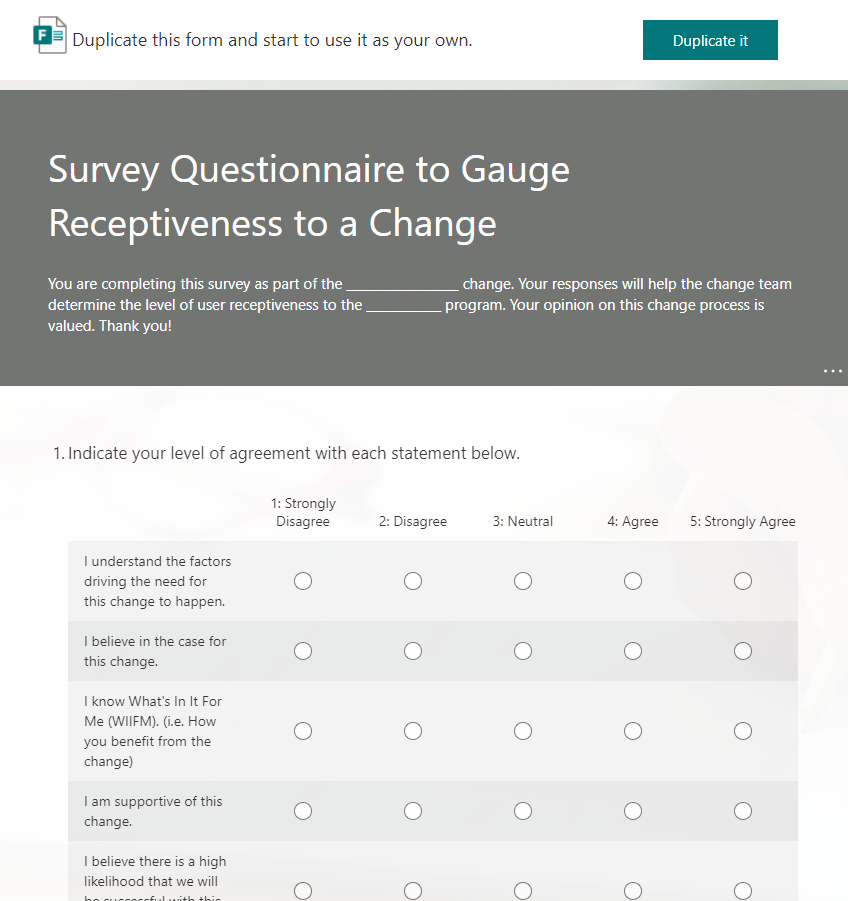 Change Management Survey Template - Measure of effectiveness - user adoption