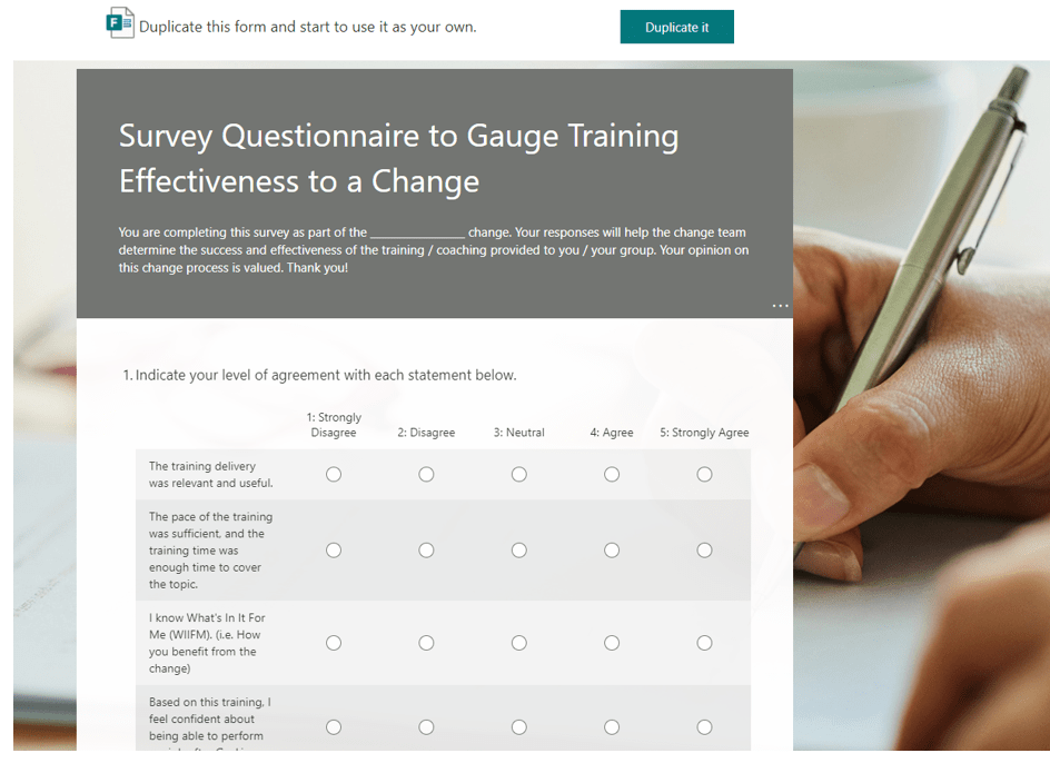 Organizational Change Managment Survey and Questionnaries for training effectiveness-min