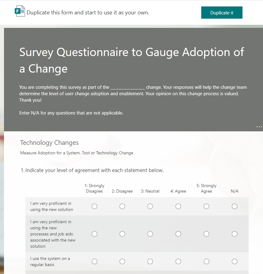 Survey Questionnaire to Gauge Adoption of a Change-min