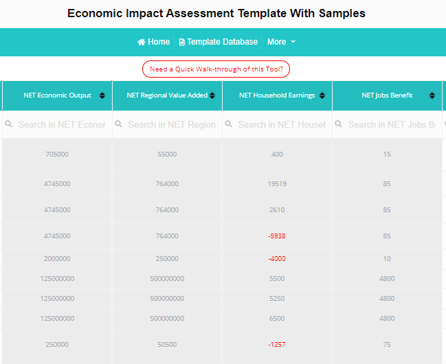 Economic Impact Assessment Template