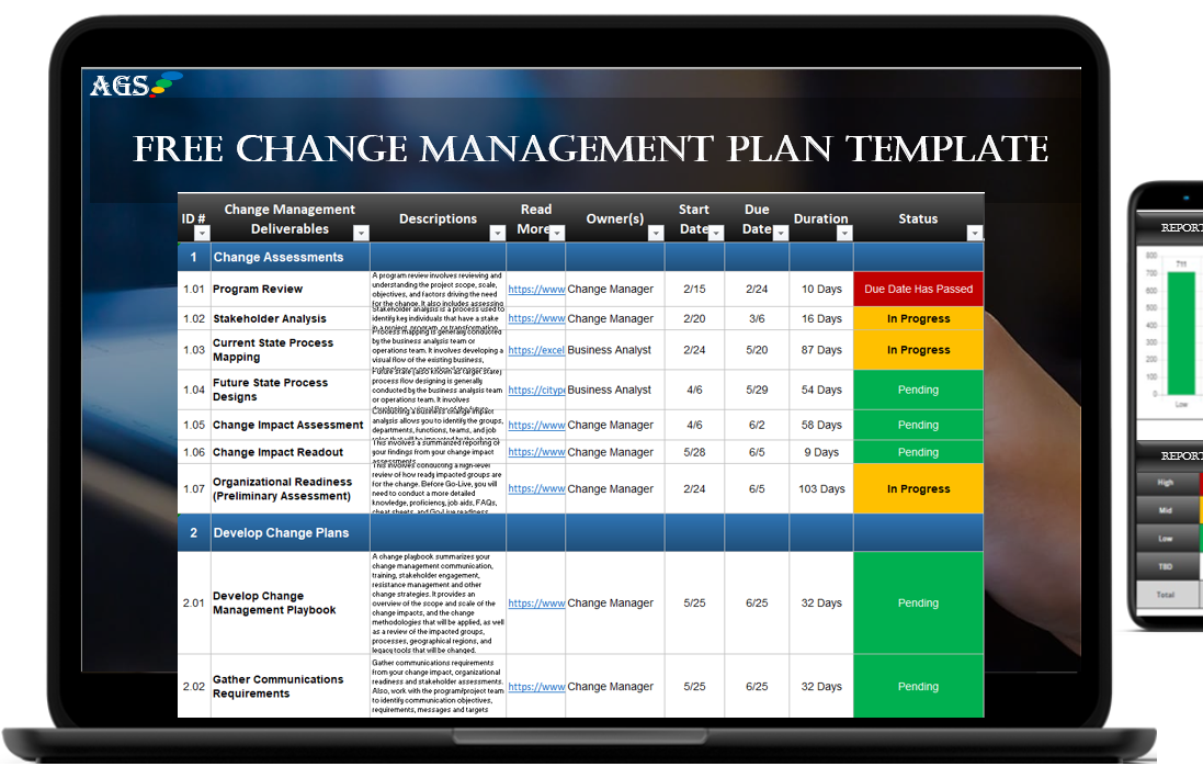 Change Management Plan - Excel Template Spreadsheet - Free
