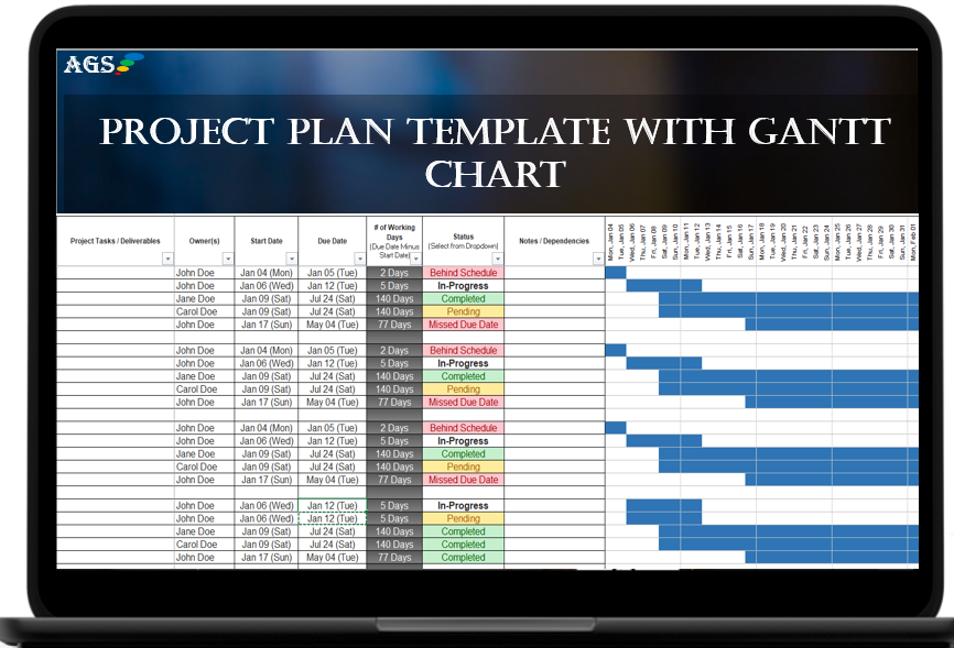 Free AGS Project Management Plan - Excel Spreadsheet Template