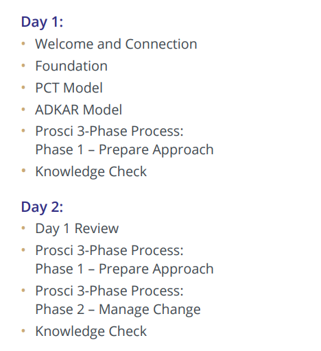 Prosci Australia Certification Program Day One and Day Two