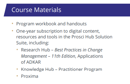 Included Course Materials for the Prosci New Zealand and Australian Certification