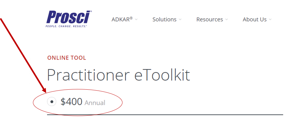 The Prosci Practitioner eToolkit costs $400 USD