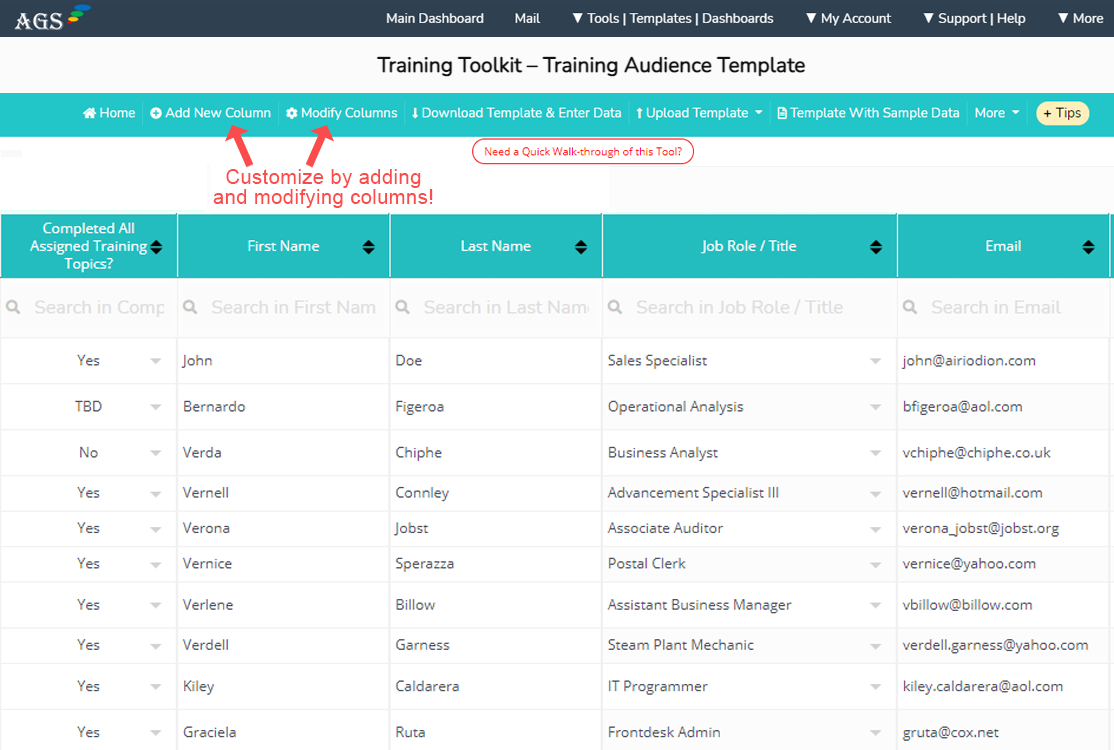 Training database and training checklist template