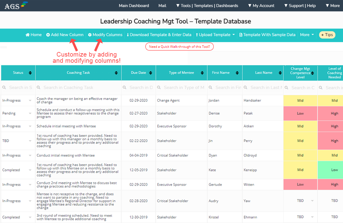 Leadership coaching tools and template