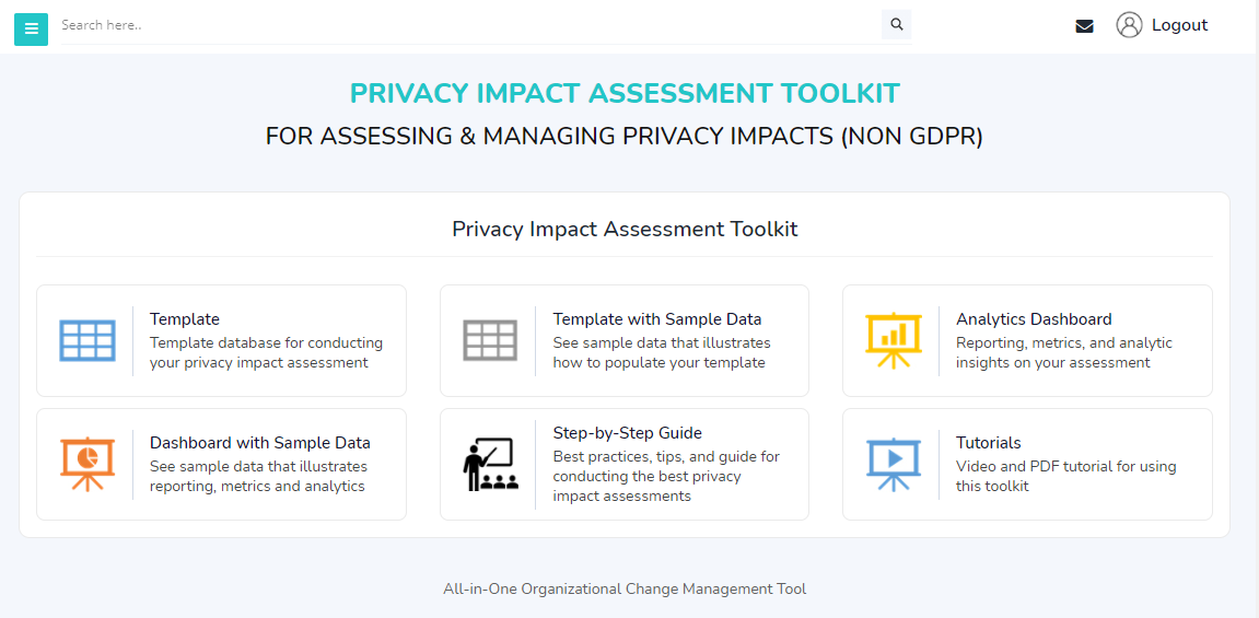 Privacy Impact Assessment Tool Home Page